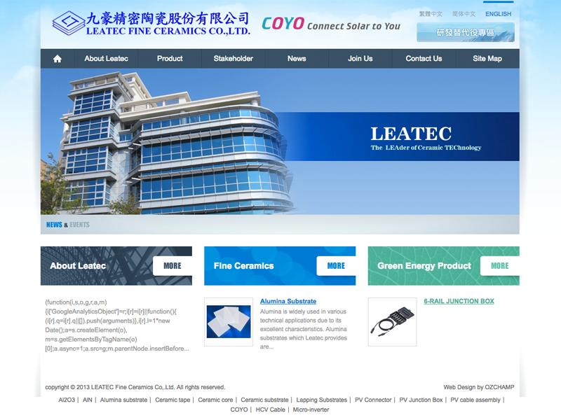 網頁設計|網站設計案例, LEATEC Fine Ceramics Co,.Ltd. 九豪精密