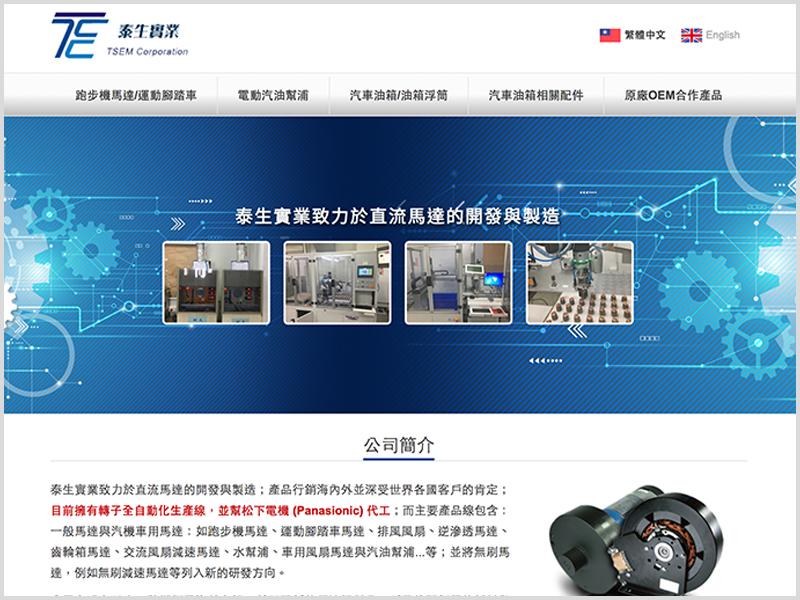 網頁設計|網站設計案例, 泰生實業有限公司
